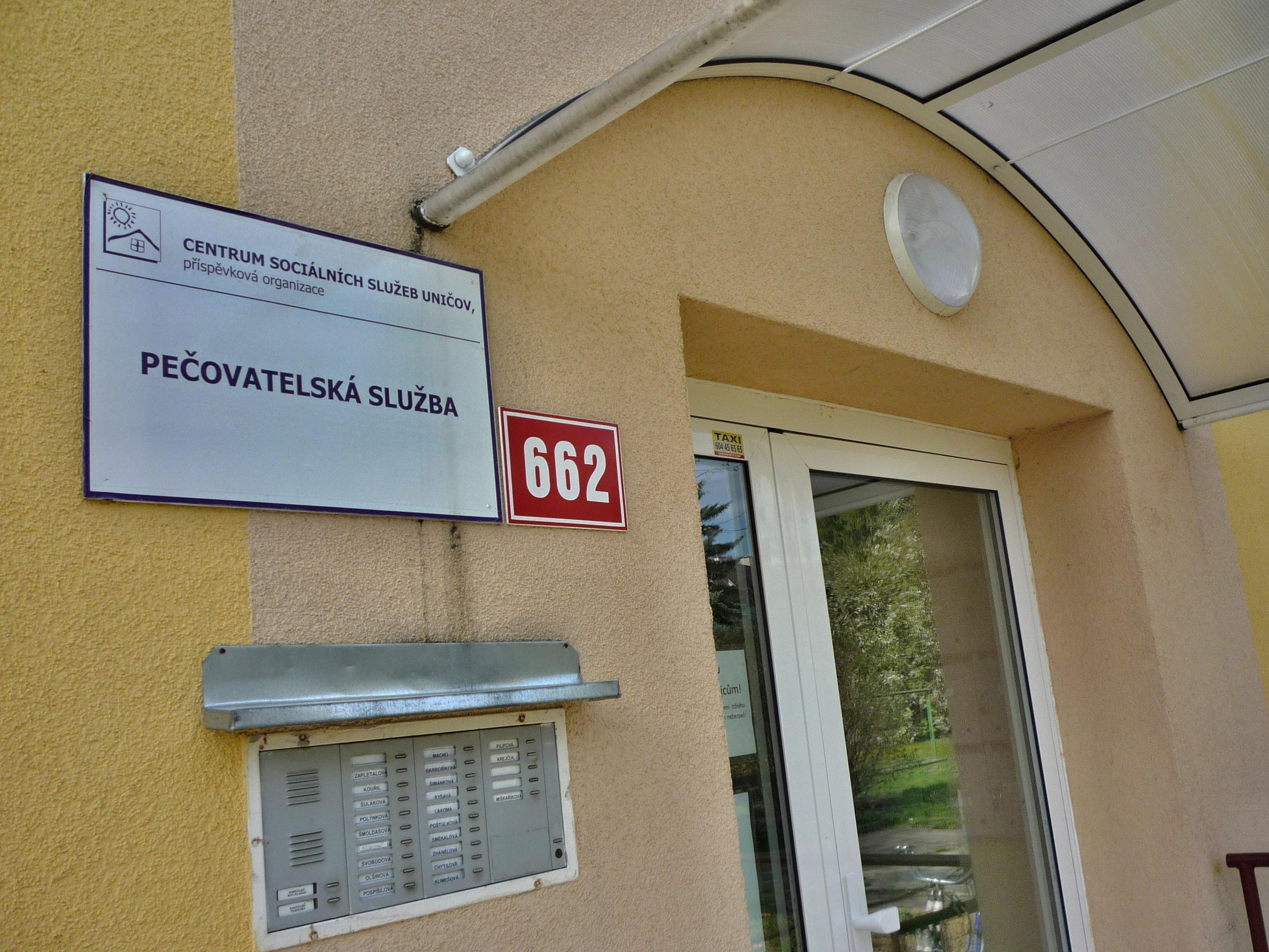 Vchod pečovatelské služby